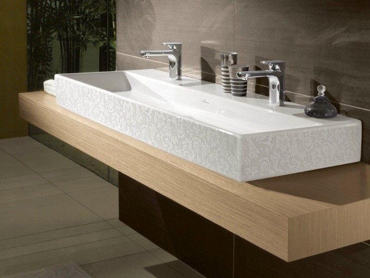 un lavabo largo mueble madera