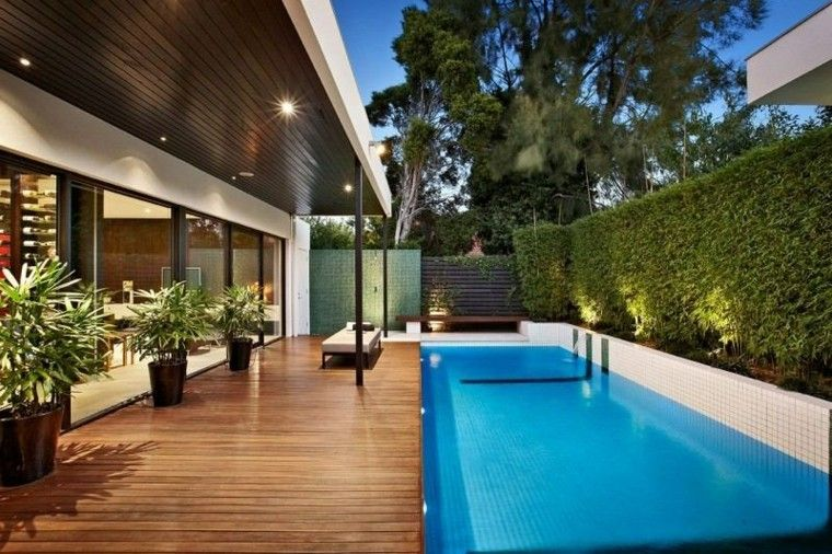valla pantas piscina suelo madera jardin ideas