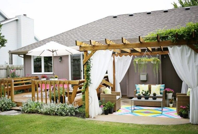 verano patio diseño pergola cesped