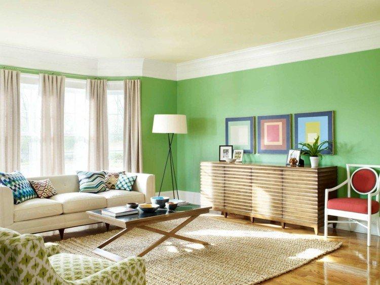 verde claro combinacion alfombra lampara