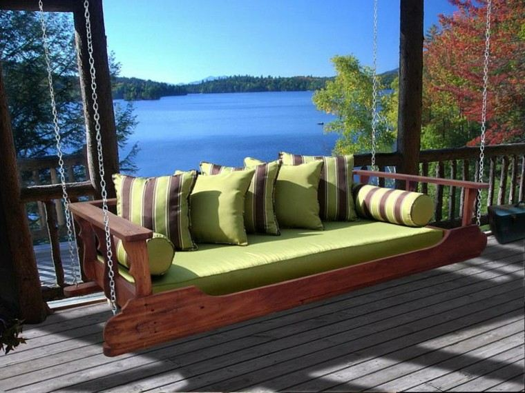 verde elegante rayas terraza lago