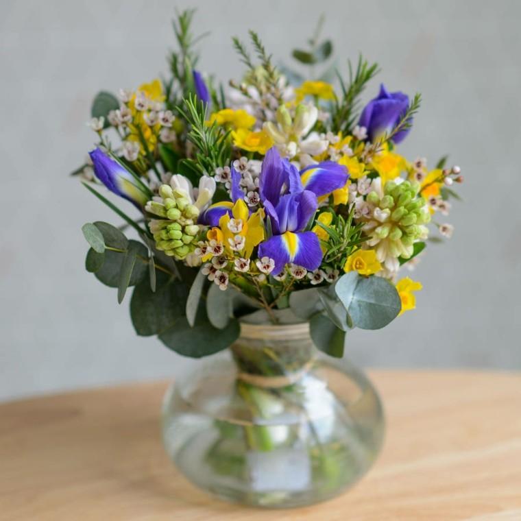 vidrio redondo flores azules amarillas