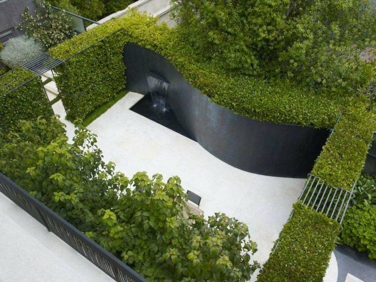 vista jardin moderno fuente cascada