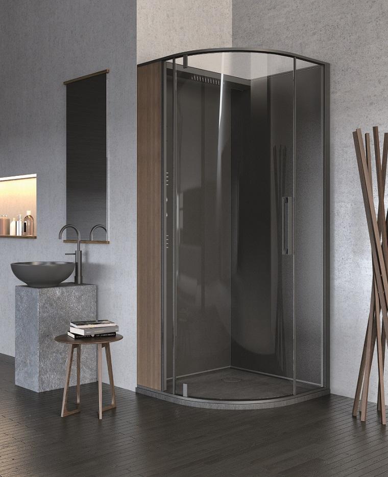 Baño Gris Con Madera:suelo de madera oscura y pared gris en el baño con diseño moderno