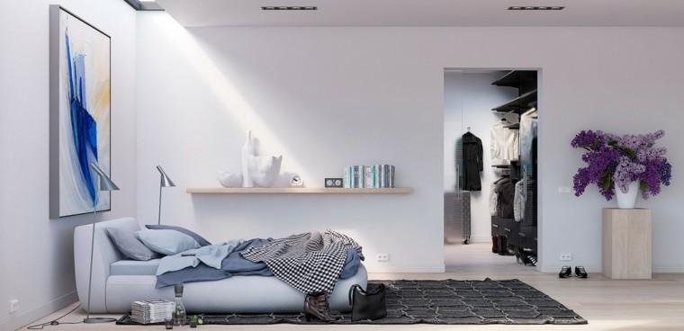George Nijland dormitorio moderno paredes blancas estanteria madera ideas