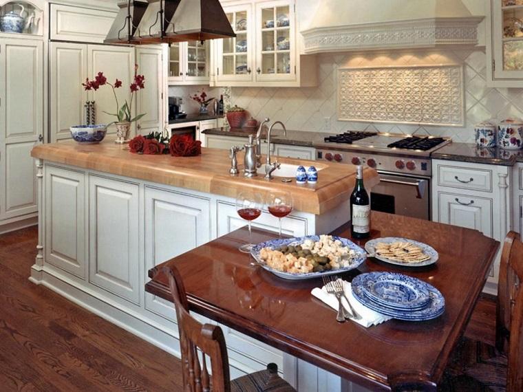 Hamilton Gray isla armarios blancos mesa cocina pequena ideas