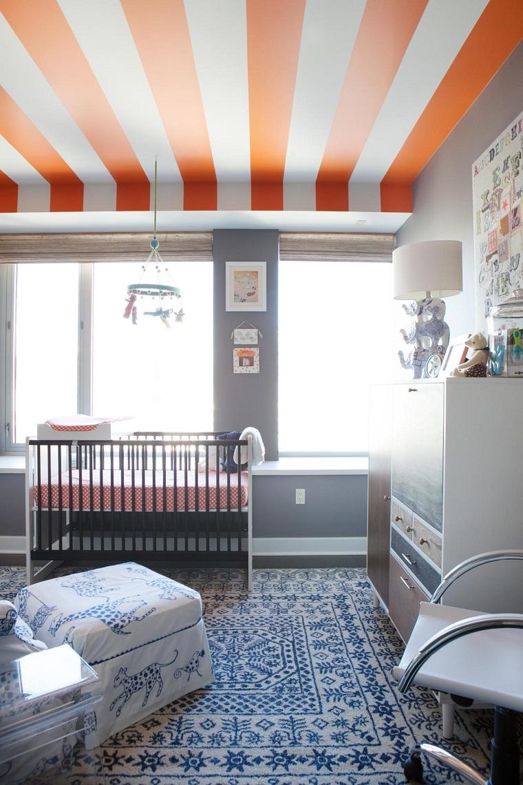 Kari McIntosh Dawdy habitacion bebe blanco gris naranja azul ideas