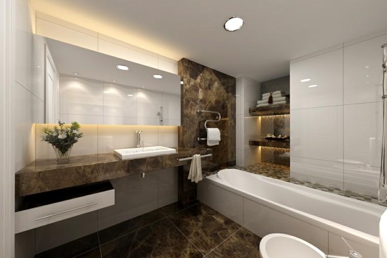 diseño coreano baño moderno bañera marmol ideas