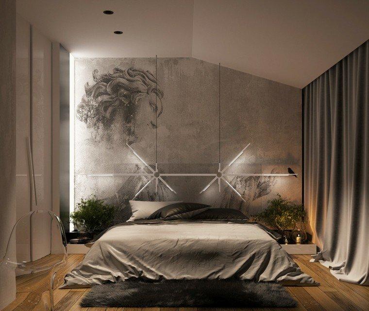 Yovo Bozhinovski dormitorio moderno pared cortinas ropa cama gris ideas