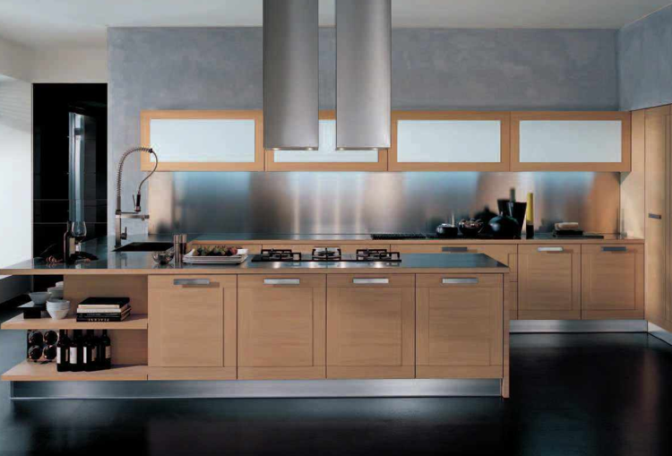acero inoxidable panel pared cocina isla madera ideas