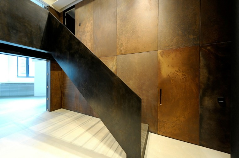 acero paredes elegantes escalera corten