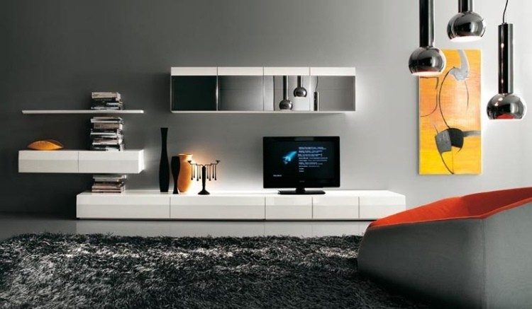 alfombra lamparas cuadros mueble moderno