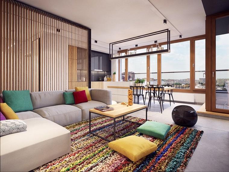 Colores calidos para el sal n 50 ideas impresionantes - Alfombra salon moderno ...