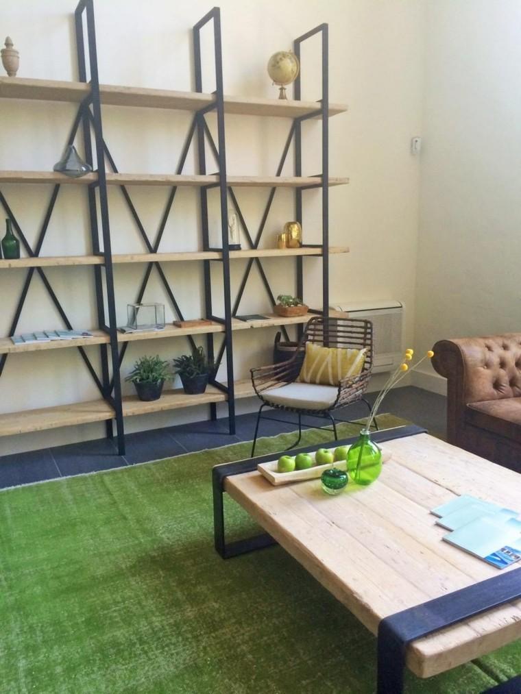alfombra verde vintage salon moderno estanterias ideas