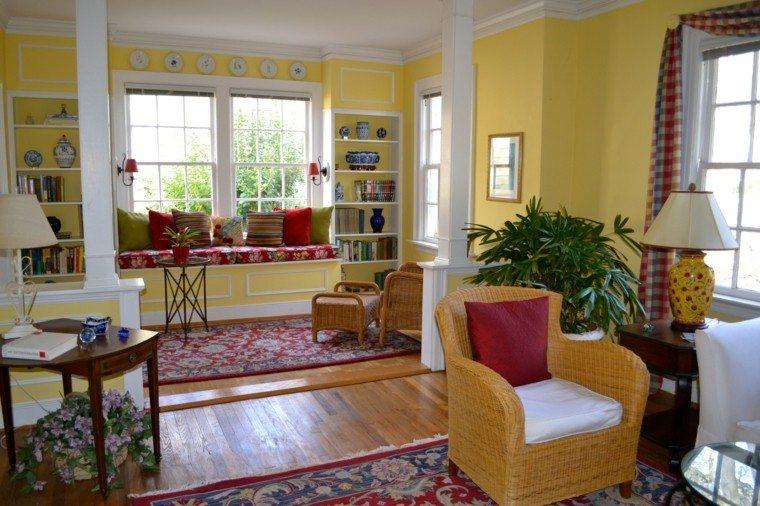 alfombra vintage salon banco ventana sillon rattan ideas