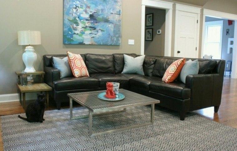 alfombra vintage salon sofa grande cuero negro ideas