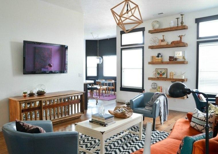 alfombra vintage sillones azul sofa naranja ideas