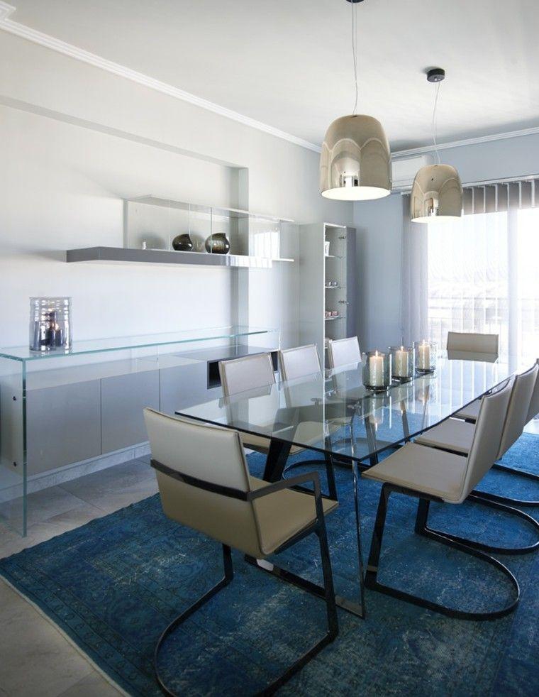 alfombras vintage color azul comedor sillas blancas ideas