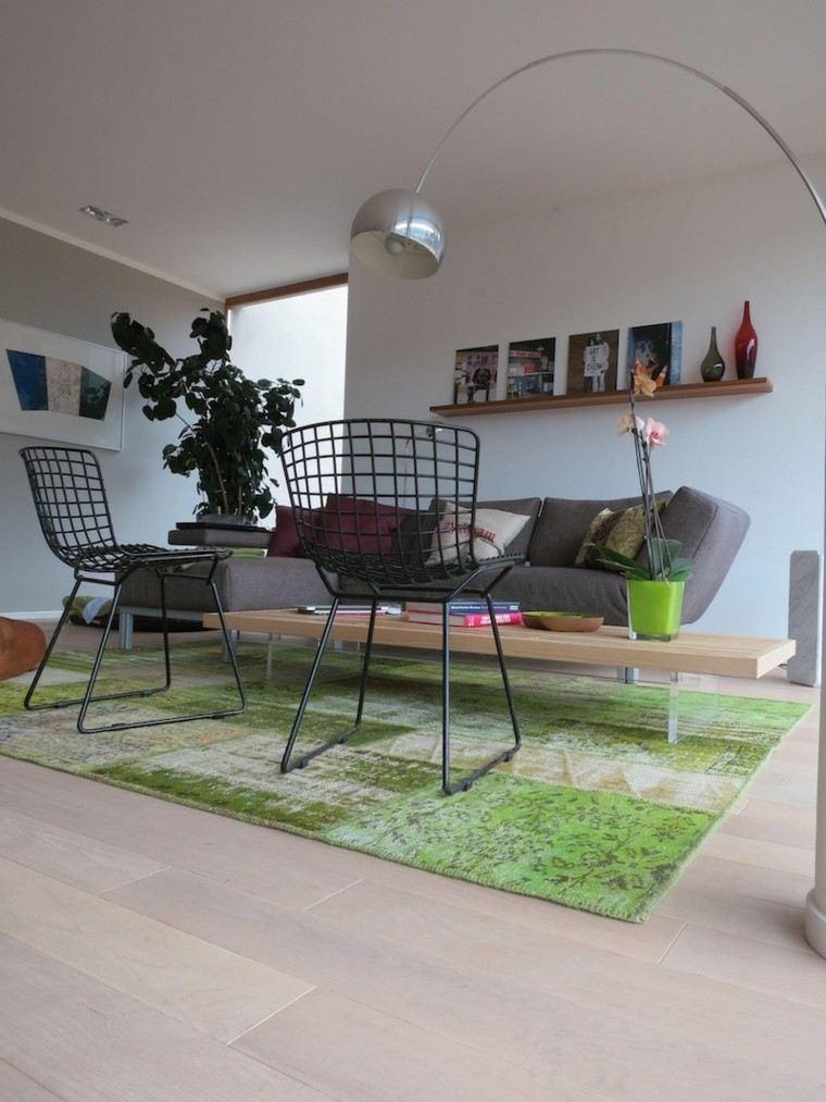 alfombra vintage color verde sillas acero ideas