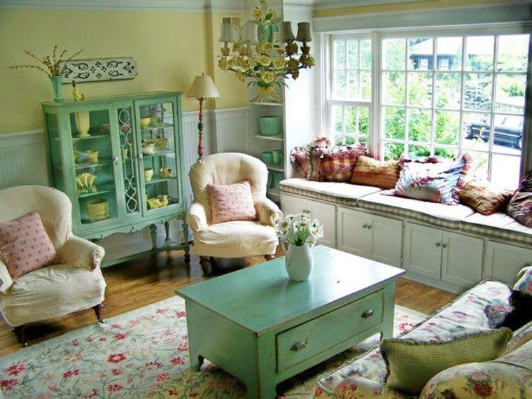 alfombra vintage estampas florales muebles madera verde ideas