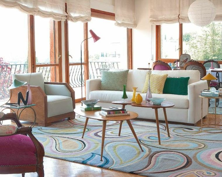 alfombra vintage salon amplio luminoso ideas