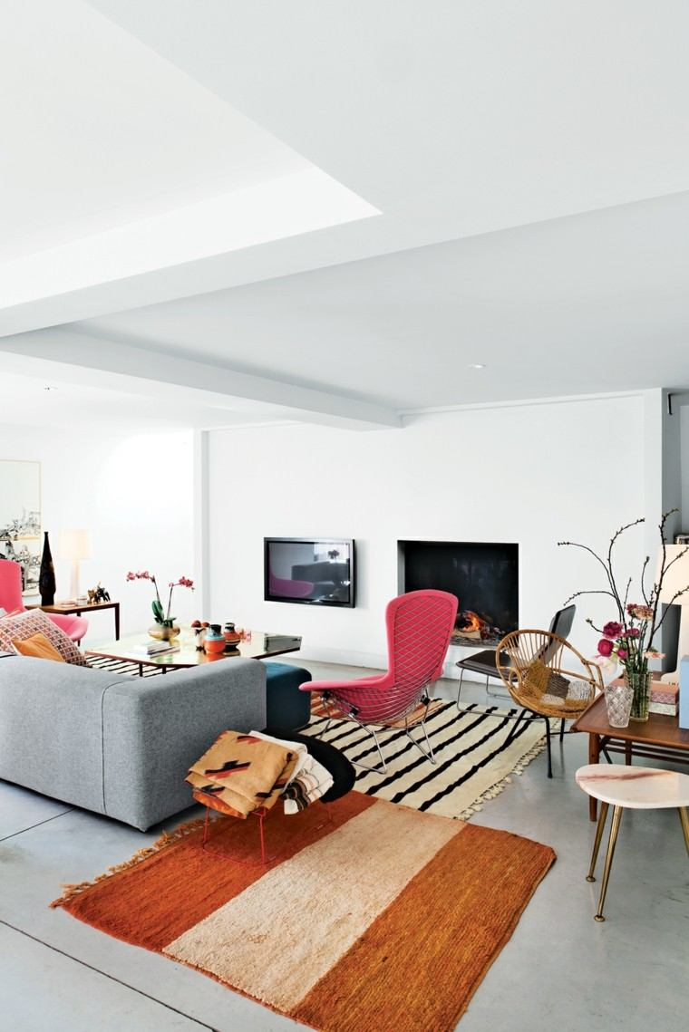 alfombra vintage salon amplio sofa gris ideas