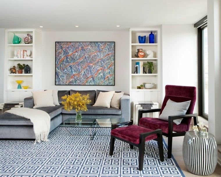 alfombra vintage salon cuadro pared precioso ideas