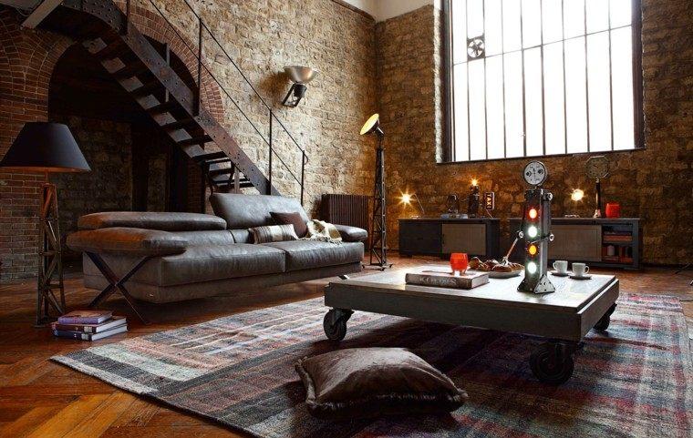 alfombras vintage salon moderno pared ladrillo ideas
