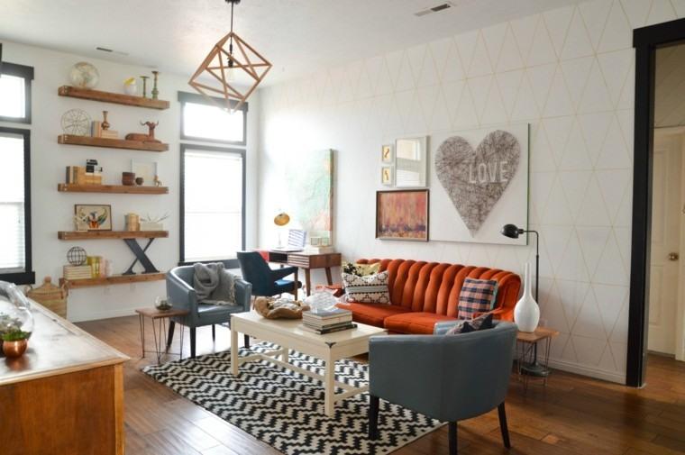 alfombras vintage salon moderno sofa comodo ideas