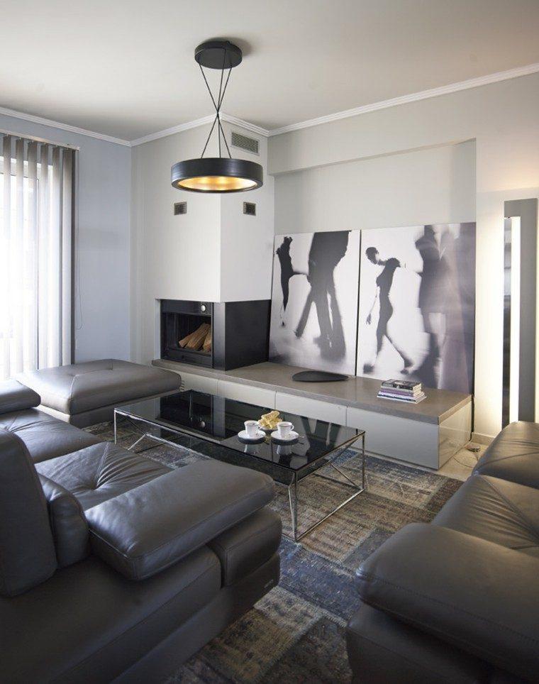 alfombras vintage salon muebles cuero gris ideas