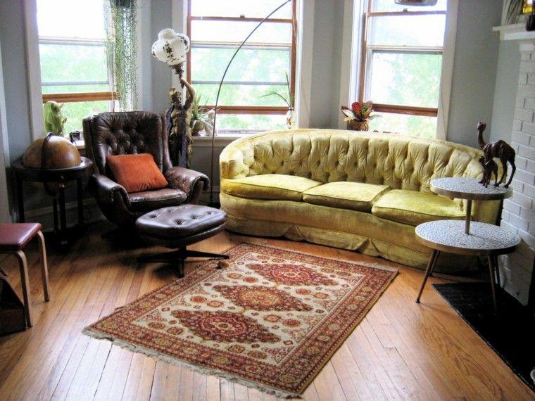 alfombras vintage salon sofa amarilla sillon cuero ideas