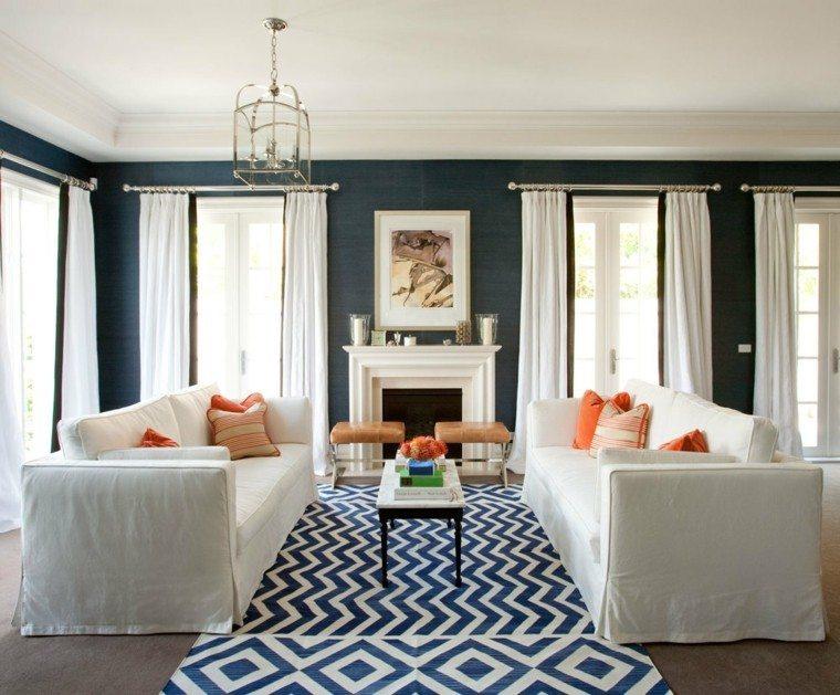alfombra vintage salon sofas blancas ideas