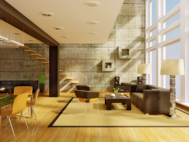 alta elegante paredes sillas alfombra