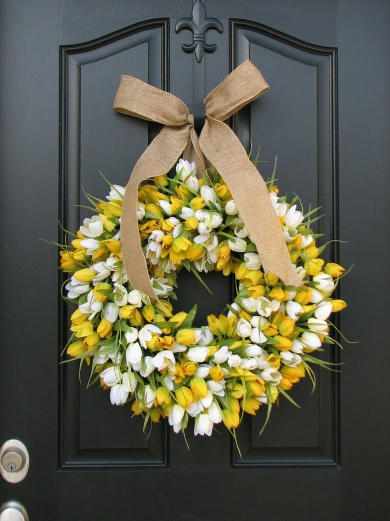 amarillo flores corona arco blanco