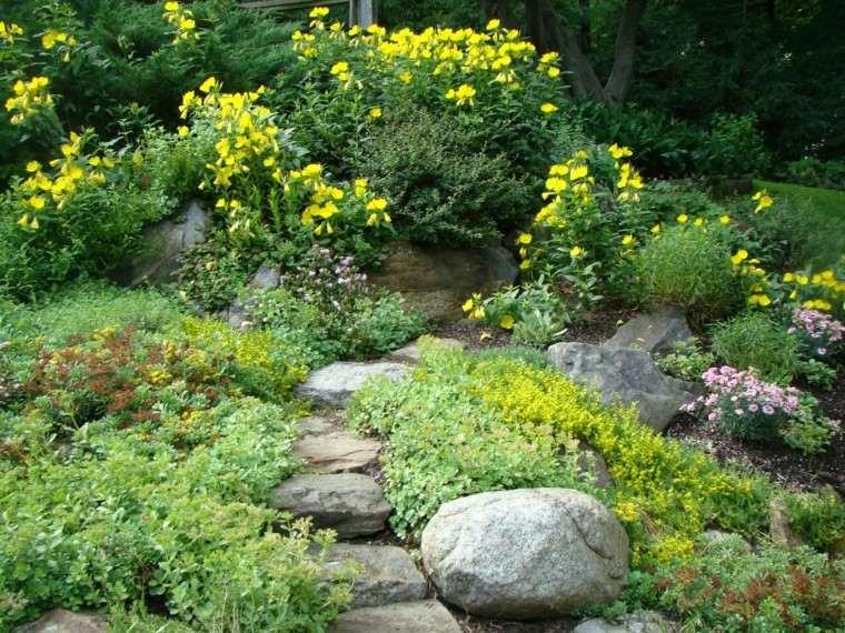 amarillo rocas estetico diseño patio