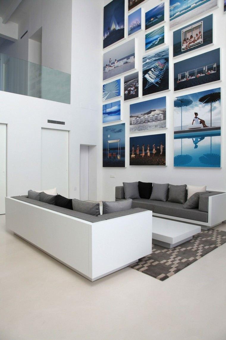 aparatamento paredes suelo blancos sofa gris cuadros ideas