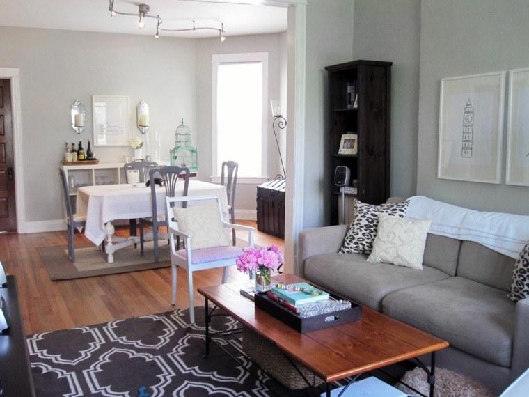 apartamento abierto alfombra mesa madera