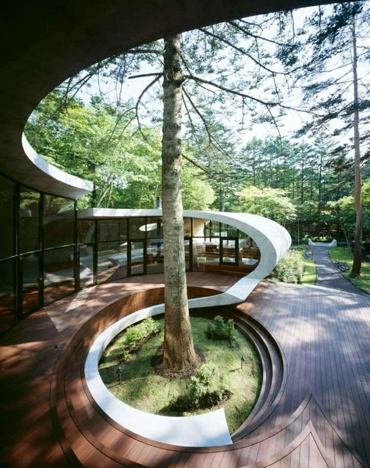 arbol grande jardin estilo japones ideas interesantes modernas