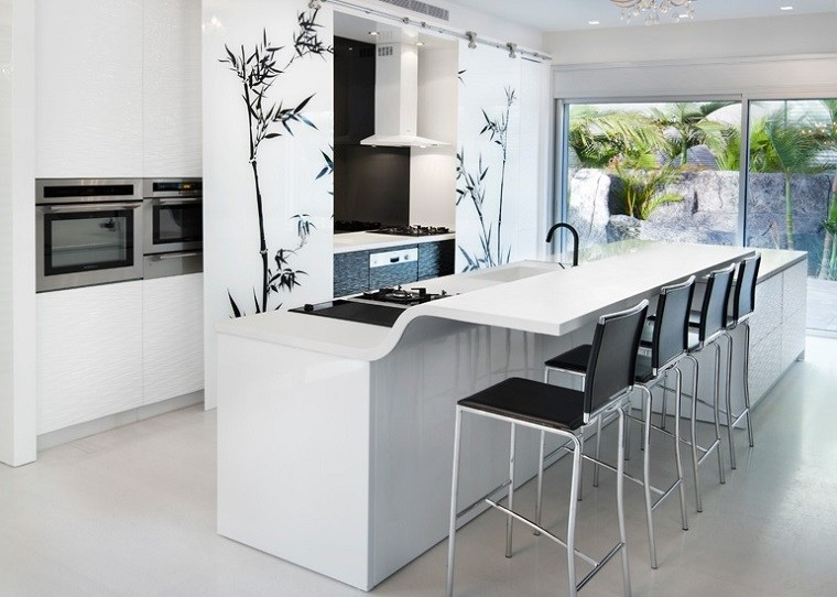 Cocinas modernas con isla 100 ideas impresionantes for Medidas isla cocina
