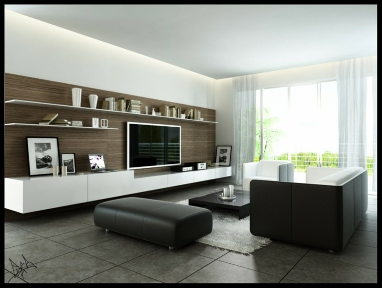 asientos piel negra salon moderno