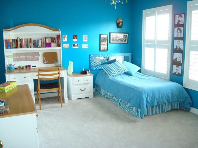 azul creativo silla madera cuadros