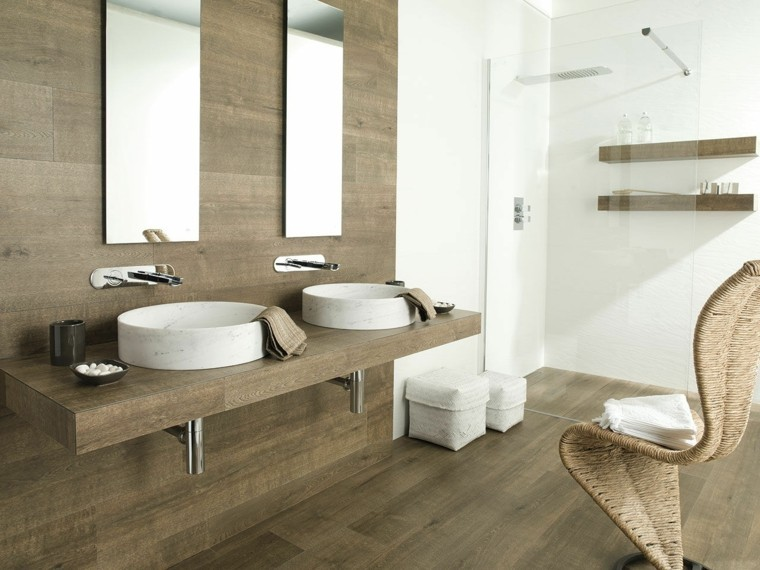 Azulejos dise o madera un toque natural para tu ba o - Espejos para lavabos ...