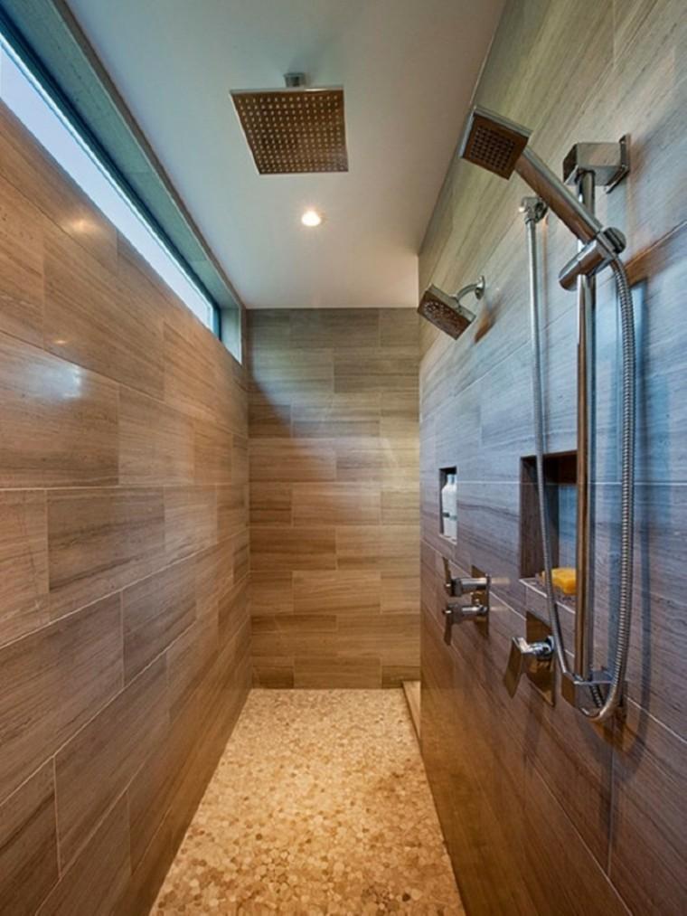 Baño Pequeno Alargado:Azulejos diseño madera, un toque natural para tu baño