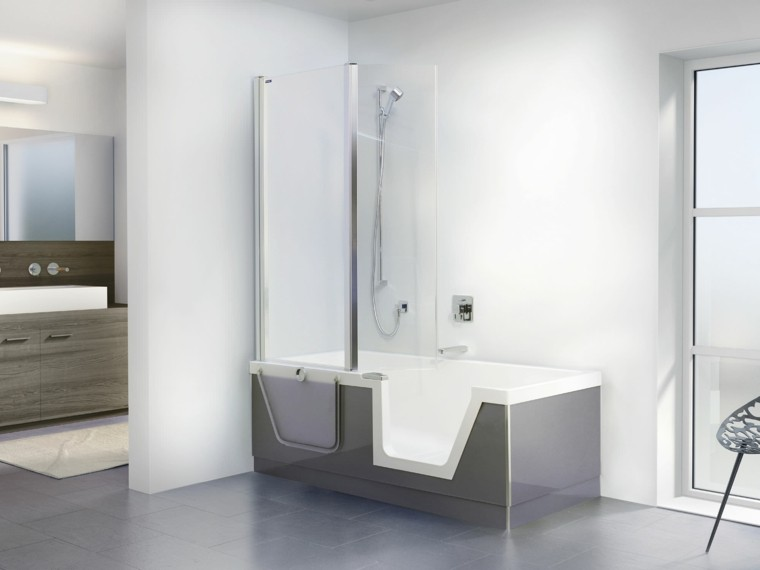 bañera combo ducha moderno madera