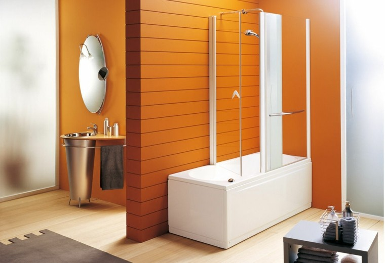 bañera diseño creativo naranja espejo