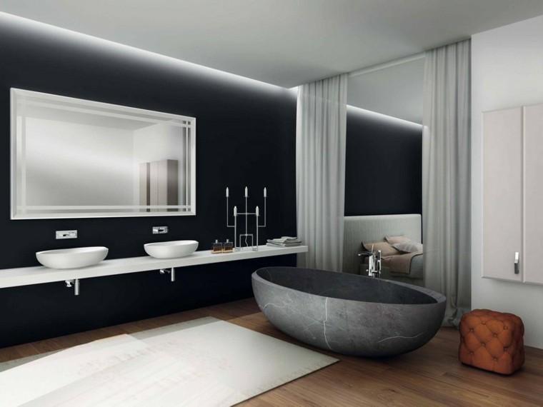 bañera color  gris lavabos blancos