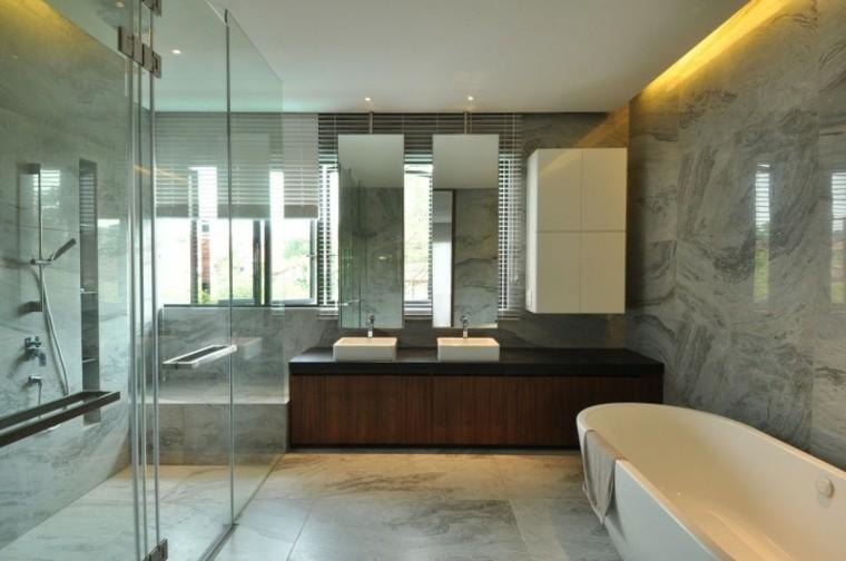 bañera marmol paredes cabina led