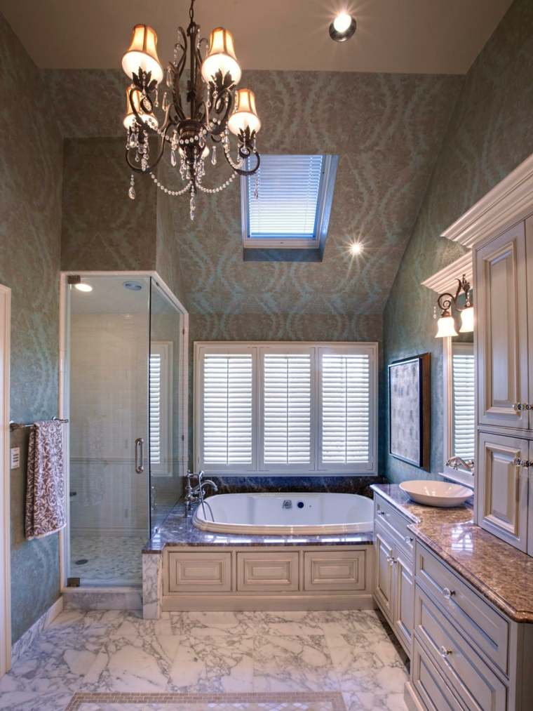 bañera mural ducha lampara acogedor