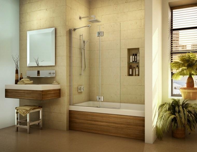 bañera mural silla jarrones madera