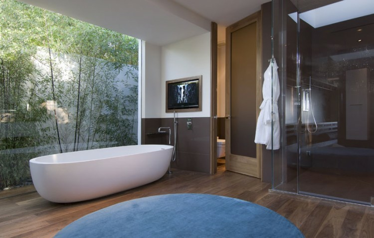 cuarto baño acristalado vistas jardin